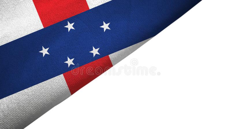 Netherlands Antilles flag left side with blank copy space. Netherlands Antilles flag isolated on white background placed on the left side with blank copy space royalty free illustration