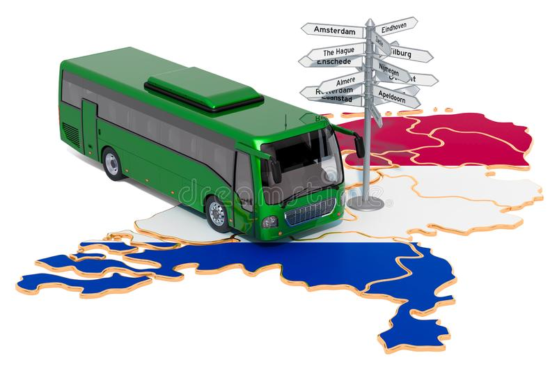 The Netherlands Bus Tours concept. 3D rendering. Isolated on white background stock illustration