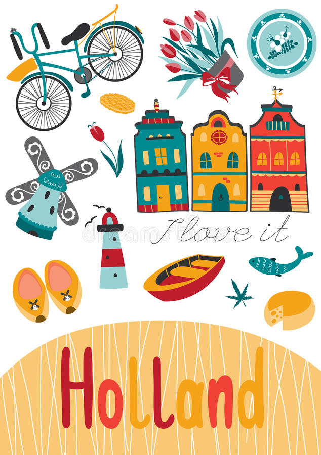Netherlands card template. Netherlands vector card template with traditional Holland elements. Travel touristic background. For greeting cards, travel brochures royalty free illustration