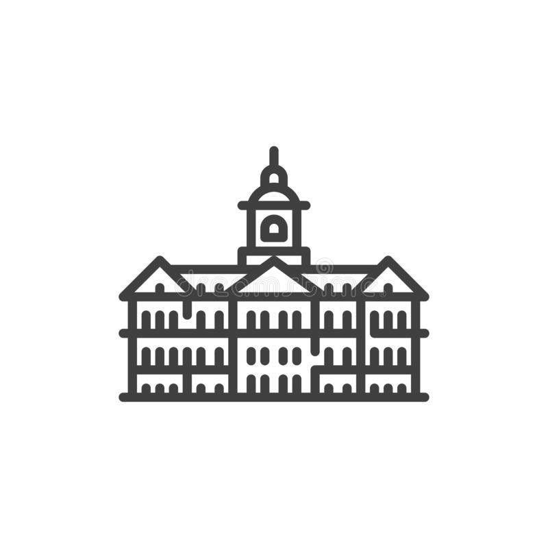 Netherlands famous landmarks line icon. Linear style sign for mobile concept and web design. Amsterdam City buildings outline vector icon. Symbol, logo royalty free illustration