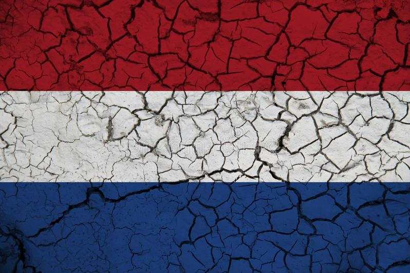 Netherlands flag on the background texture. Concept for designer solutions.  stock photo