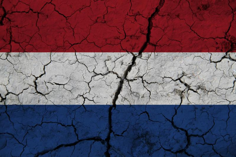 Netherlands flag on the background texture. Concept for designer solutions.  stock images