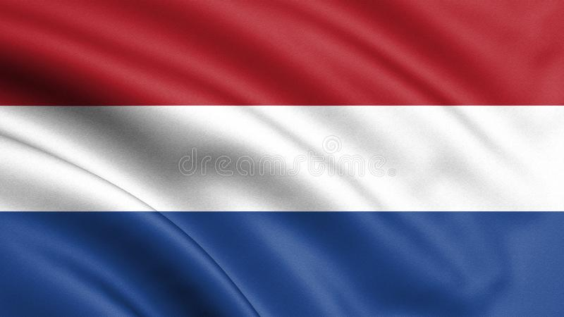 Netherlands flag blowing in the wind. Background texture. 3d rendering, wave. - Illustration. Icon vector illustration