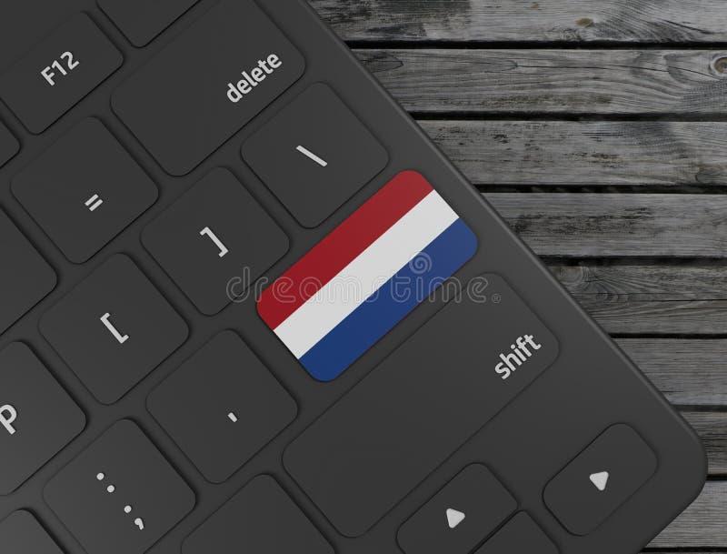 Netherlands flag enter key on white keyboard, on wood background. 3d render. Illustration stock illustration