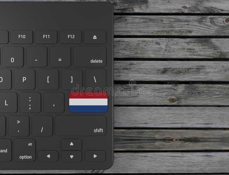 Netherlands flag enter key on white keyboard, on wood background. 3d render. Illustration vector illustration