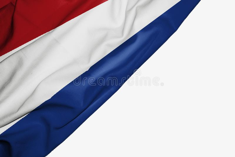 Netherlands flag of fabric with copyspace for your text on white background. Banner best blue capital colorful competition country dutch ensign europe free royalty free illustration