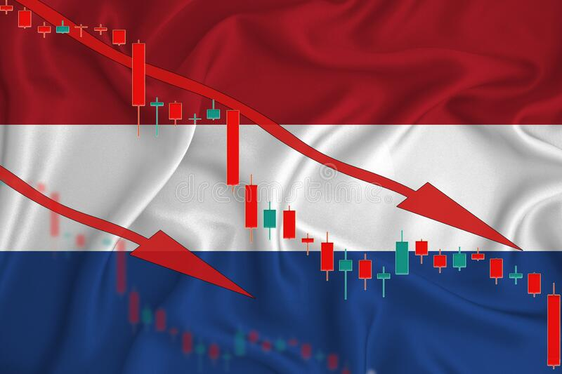 Netherlands flag, the fall of the currency against the background of the flag and stock price fluctuations. Crisis concept with. Falling stock prices of royalty free stock photo