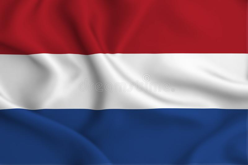 The netherlands flag illustration. The netherlands waving and closeup flag illustration. Perfect for background or texture purposes stock illustration