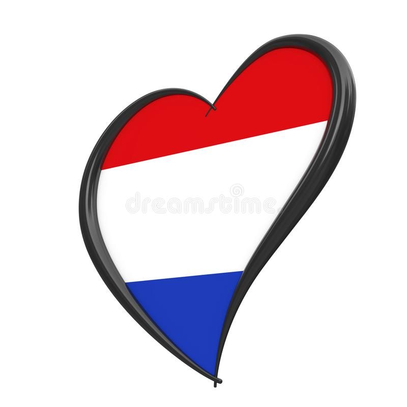 Netherlands Flag Inside Heart. Eurovision Song Contest 2020 in Holland. 3d Rendering. Netherlands Flag Inside Heart. Eurovision Song Contest 2020 in Holland on a stock photos