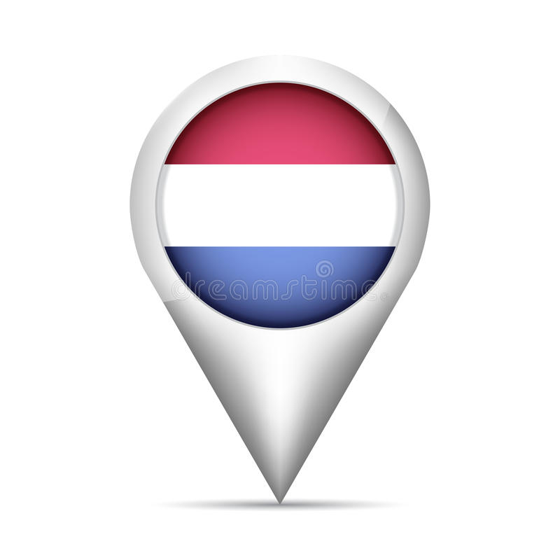 Free Netherlands Flag Map Pointer With Shadow. Vector Illustration Royalty Free Stock Photography - 95665057