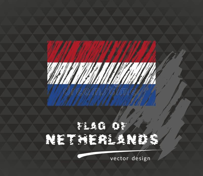 Netherlands flag, vector sketch hand drawn illustration on dark grunge background. Vector sketch map of Netherlands with flag, hand drawn chalk illustration stock illustration