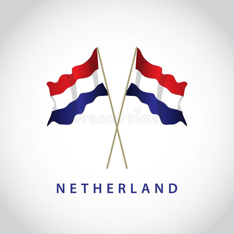 Netherlands Flag Vector Template Design Illustration. White background red color icon symbol graphic concept travel blue europe country freedom national emblem vector illustration