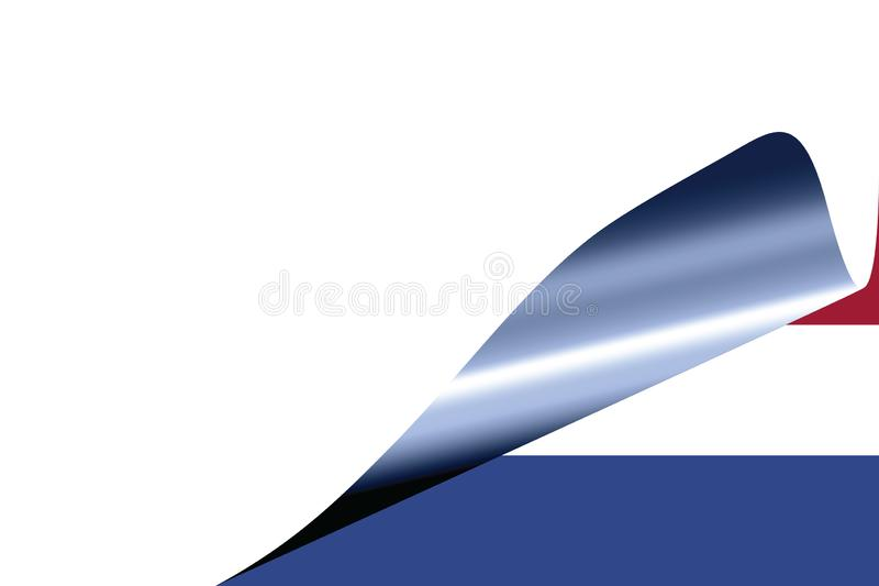 Netherlands flag on white. With curled page stock illustration