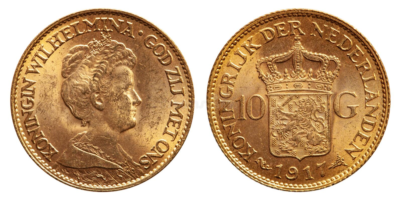 Netherlands 10 gulden gold coin vintage 1917 stock photos