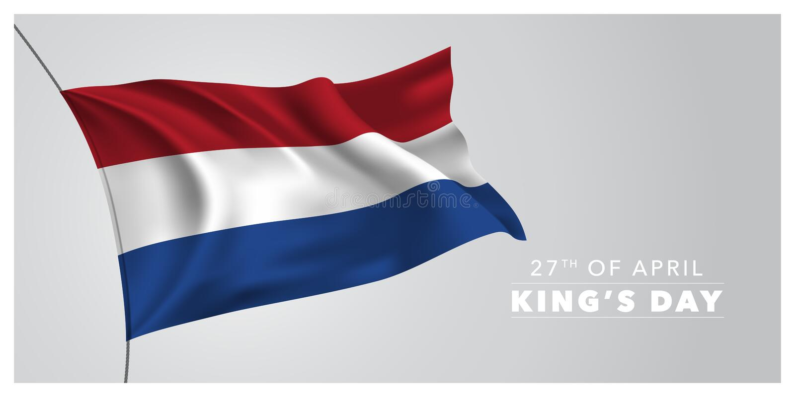 Netherlands happy King`s day greeting card, banner, horizontal vector illustration. Dutch holiday 27th of April design element with waving flag as a symbol of vector illustration