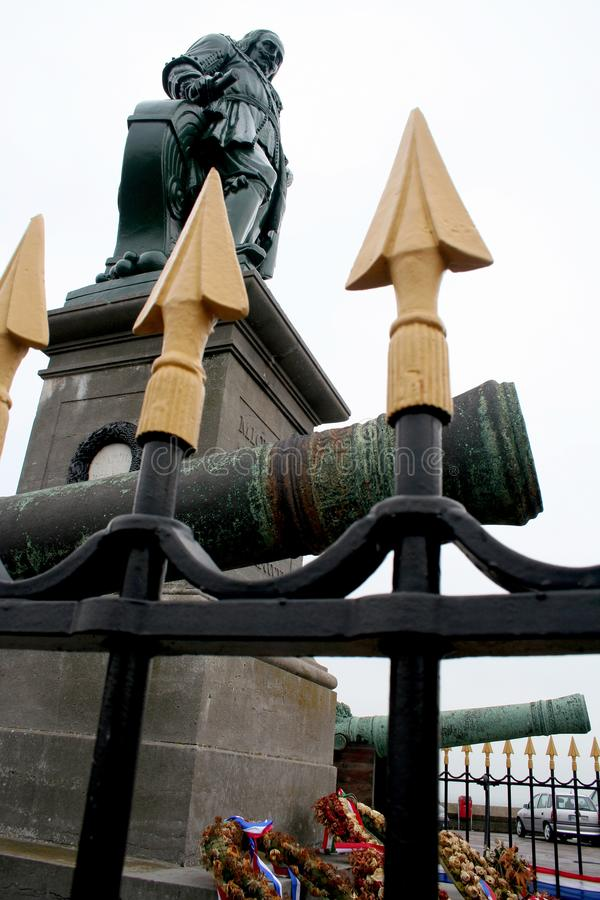 Statue of Michiel Adriaenszoon de Ruyter on the Boulevard de Ruiter stock image