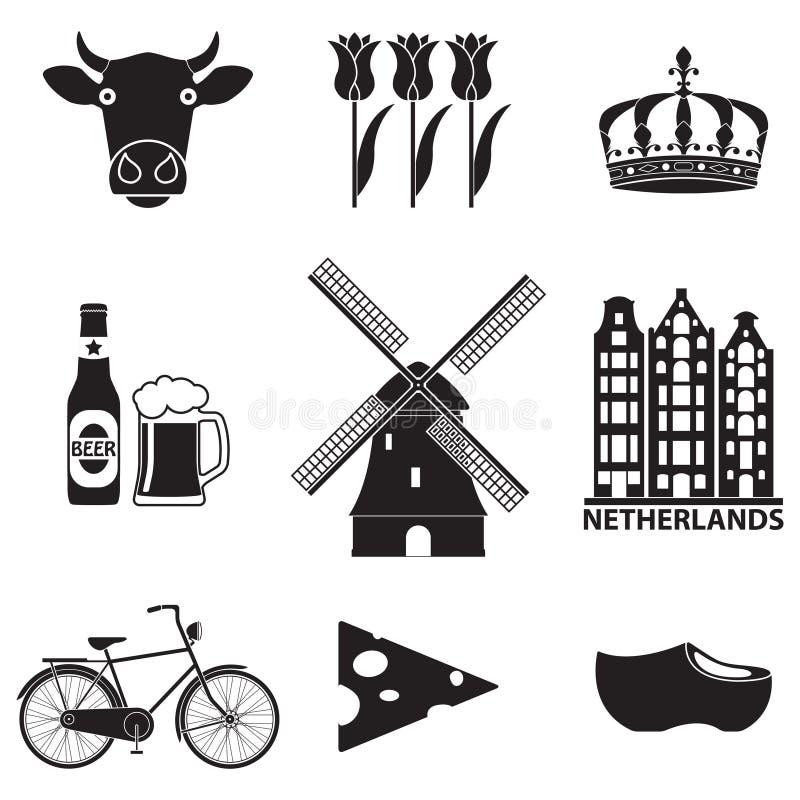 Netherlands icon set on white background. Holland and Amsterdam symbols: wind mill, tulips, bicycle, beer. Travel design. Netherlands icon set on white stock illustration