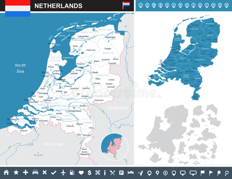 Netherlands - infographic map and flag illustration. Netherlands infographic map and flag - illustration stock illustration