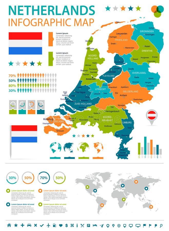 Netherlands - infographic map and flag - illustration. Netherlands infographic map and flag - illustration stock illustration