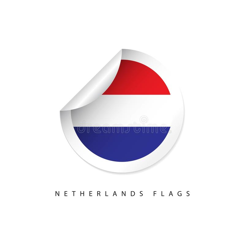 Netherlands Label Flags Vector Template Design royalty free illustration