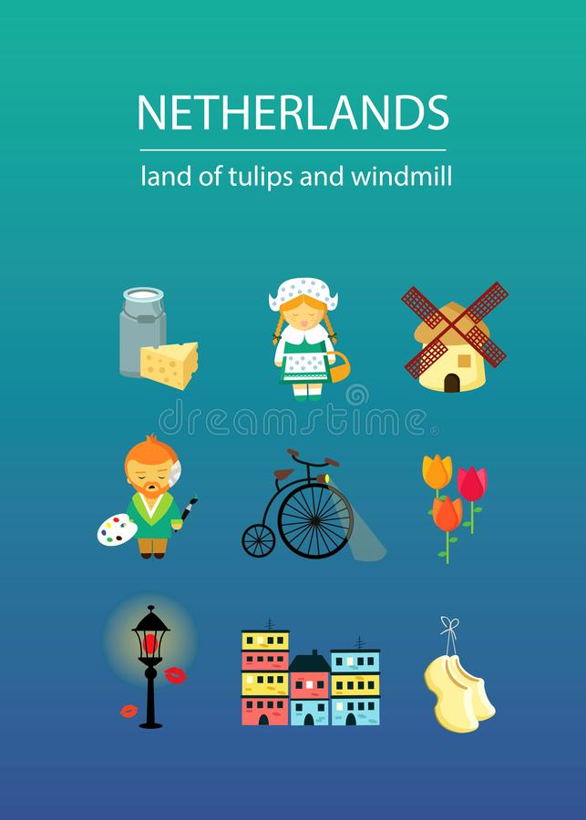 Netherlands land of tulips and windmill with nine elements vector illustration