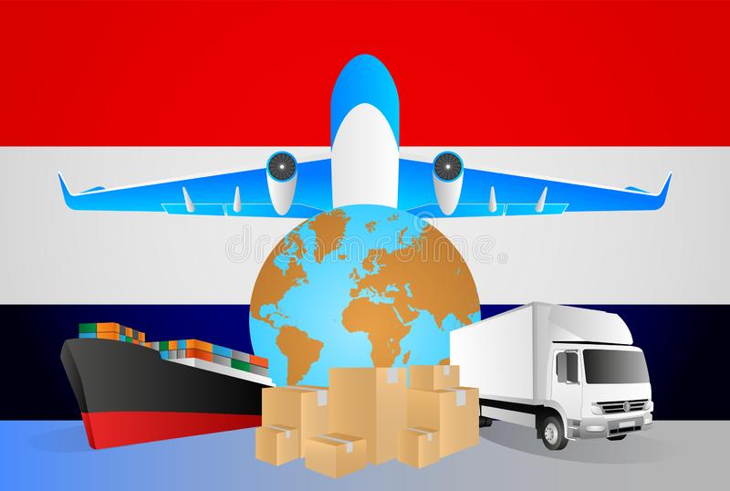 Netherlands logistics concept illustration. National flag of Netherlands from the back of globe, airplane, truck and cargo. Container ship vector illustration vector illustration