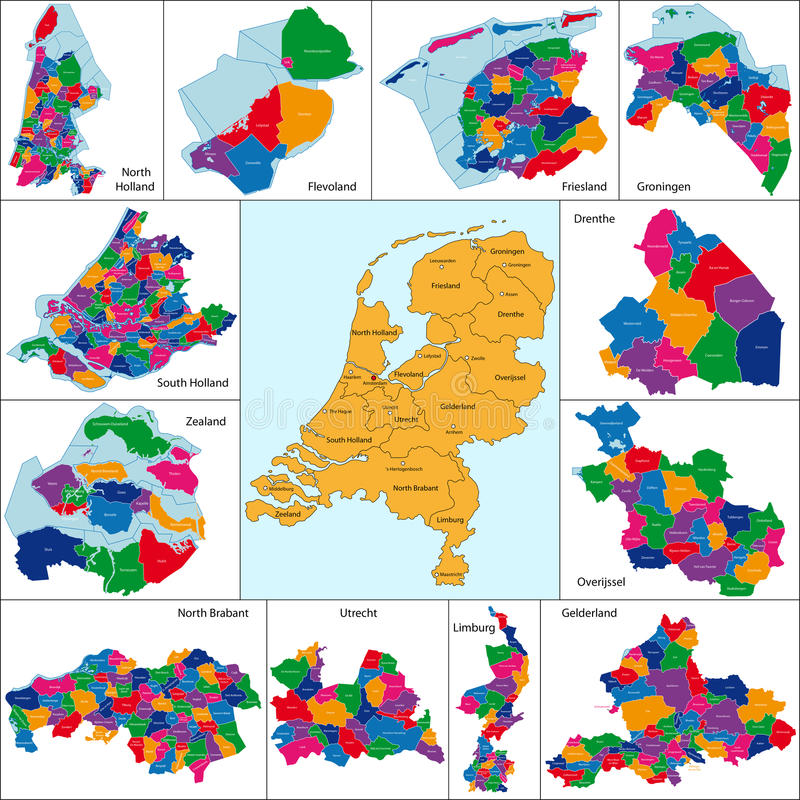 Netherlands map. Administrative division of Netherlands designed in illustration with the regions colored in bright colors and with the main cities vector illustration