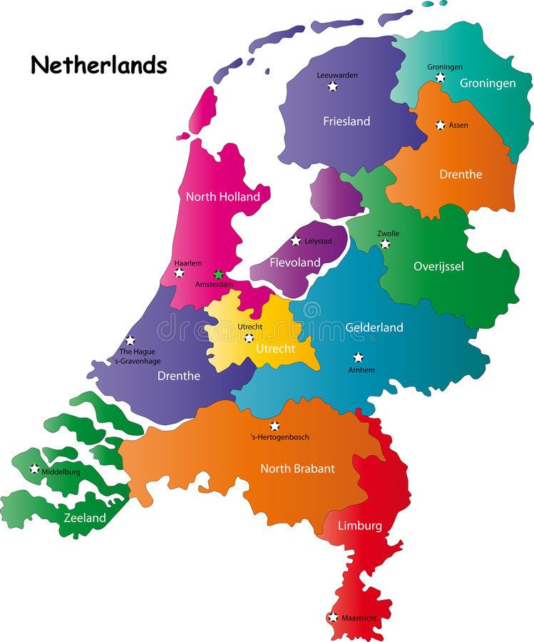 Netherlands map. Designed in illustration with the regions colored in bright colors and with the main cities. Neighbouring countries are in an additional format stock illustration