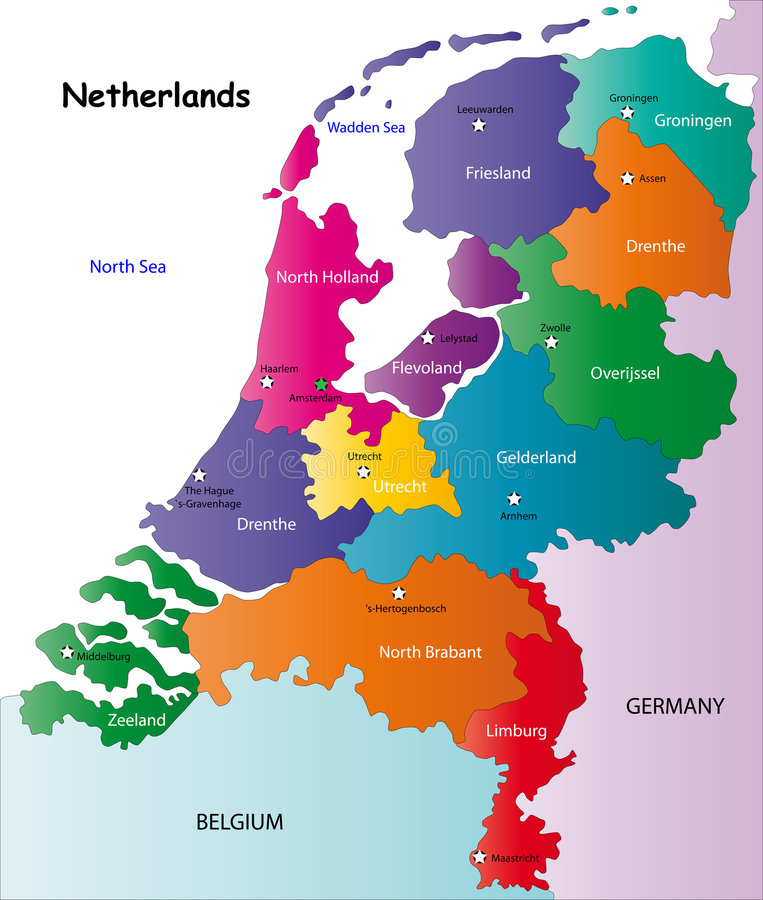 Netherlands map. Designed in illustration with the regions colored in bright colors and with the main cities. On an illustration neighbouring countries are