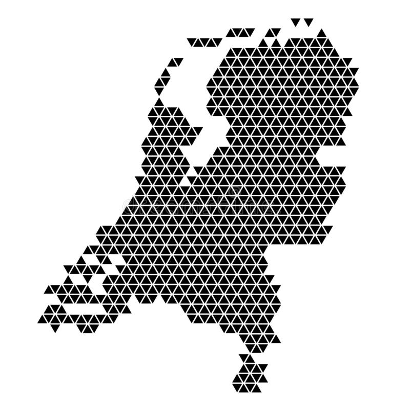 Netherlands map abstract schematic from black triangles repeating pattern geometric background with nodes. Vector illustration.  vector illustration