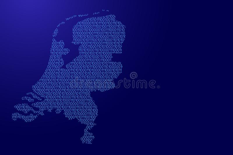 Netherlands map abstract schematic from blue ones and zeros binary digital code for banner, poster, greeting card. Vector stock illustration