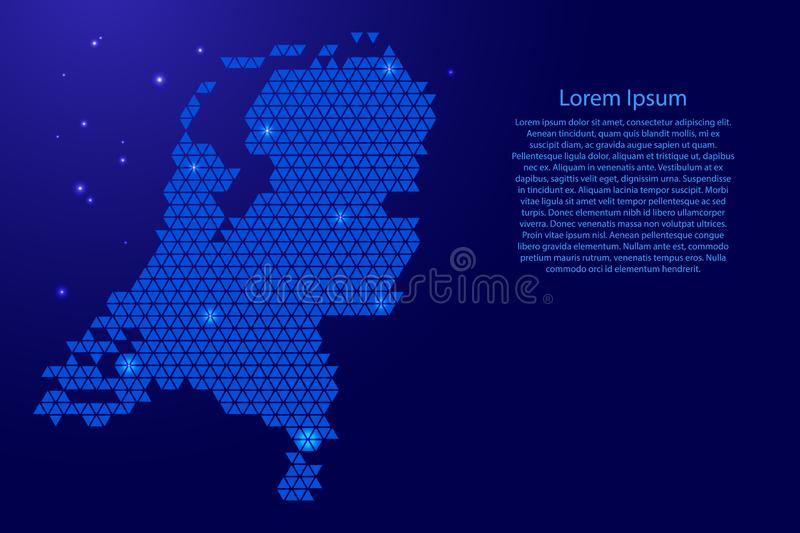 Netherlands map abstract schematic from blue triangles repeating pattern geometric background with nodes and space stars for. Banner, poster, greeting card royalty free illustration