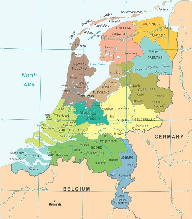 Netherlands Map - Vector Illustration. Netherlands Map - Detailed Vector Illustration stock illustration