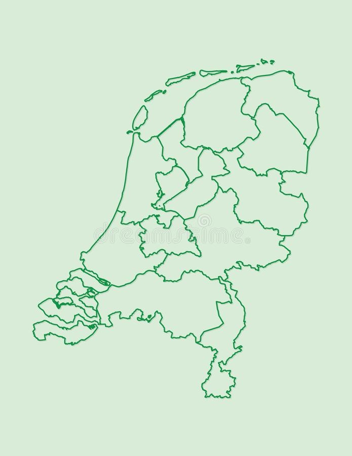 Netherlands map with different provinces using green lines on light background vector. Illustration royalty free illustration