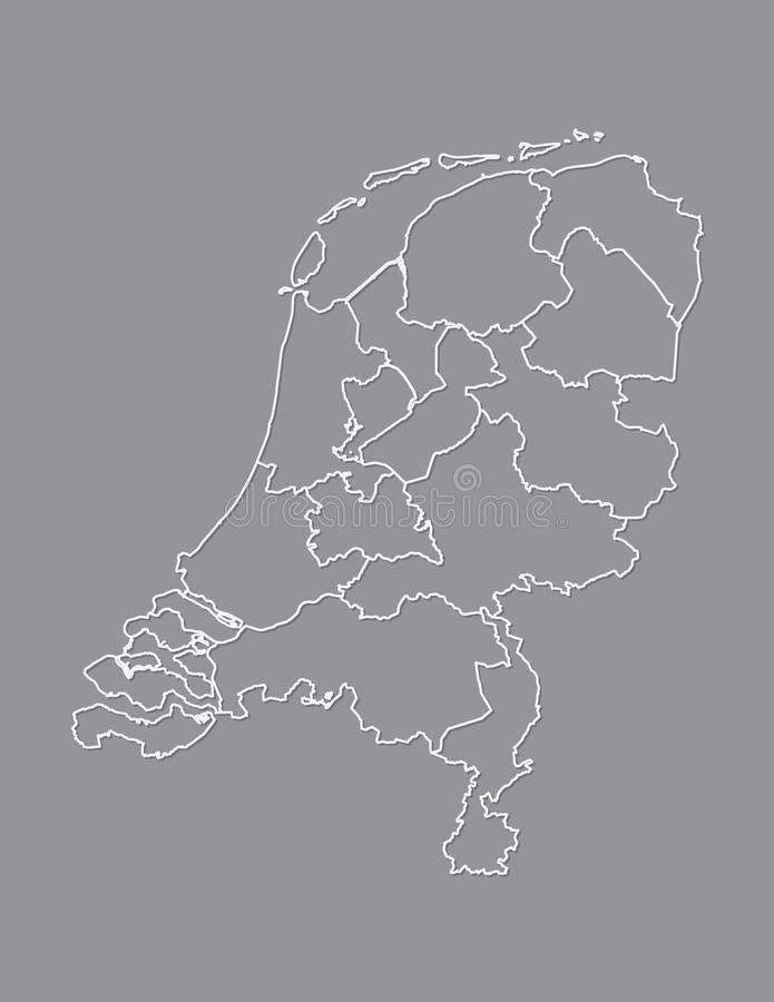 Netherlands map with different provinces using white lines on dark background vector. Illustration vector illustration