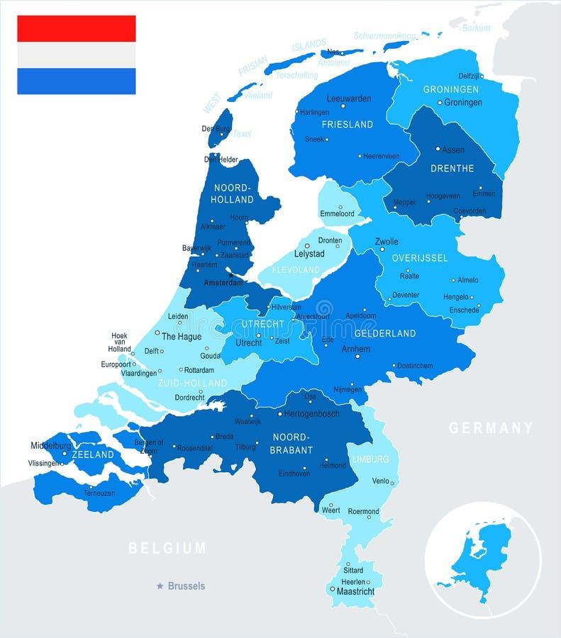 Netherlands - map and flag illustration. Netherlands map and flag - illustration royalty free illustration