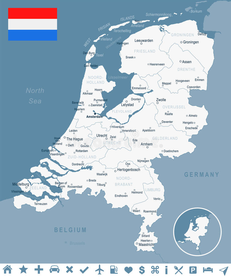 Netherlands Map And Flag Illustration Stock Illustration