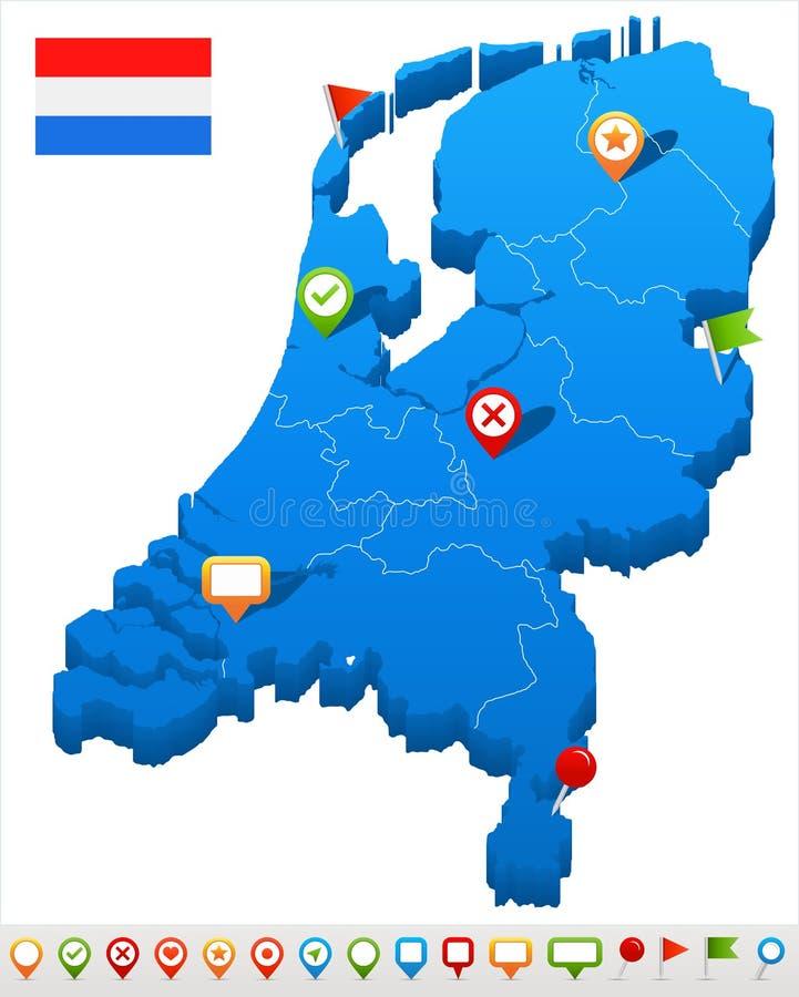 Netherlands - map and flag illustration. Netherlands map and flag - illustration stock illustration