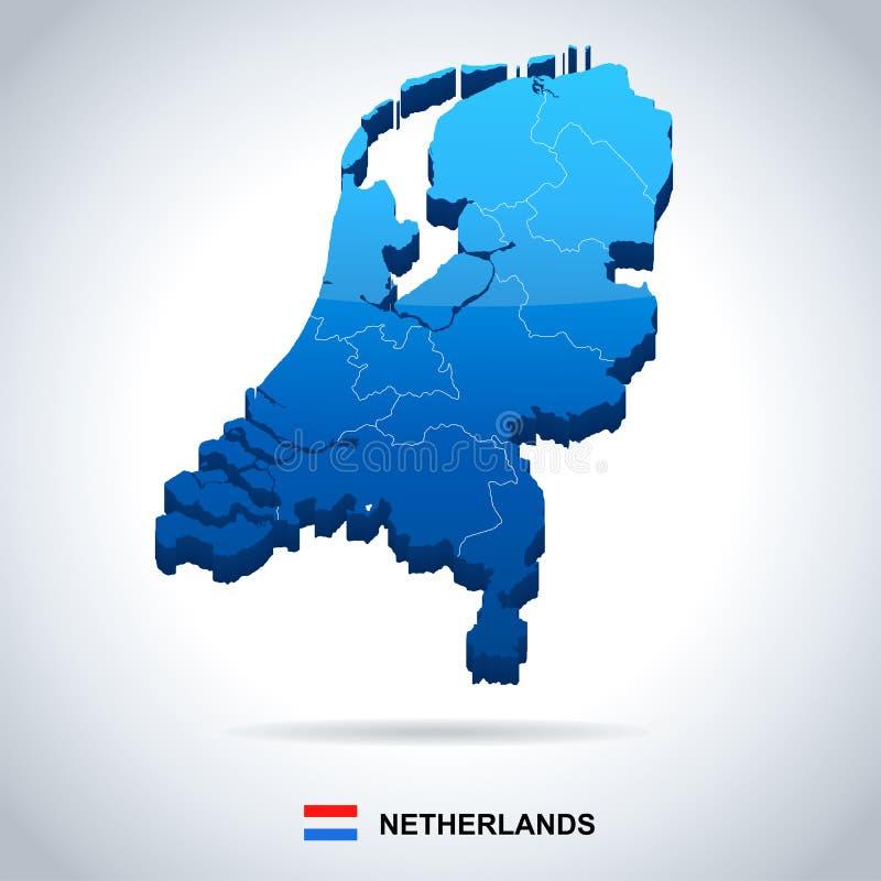 Netherlands - map and flag illustration. Netherlands map and flag - illustration vector illustration