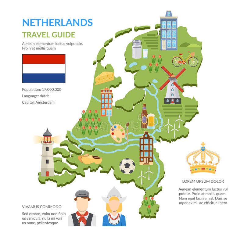 Netherlands Map Flat Infographics vector illustration