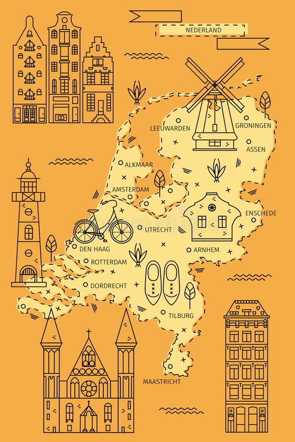 The Netherlands map in flat line design. With traditional houses, symbols and decorations. Vector illustration of Holland area for banners, flyers, backgrounds stock illustration