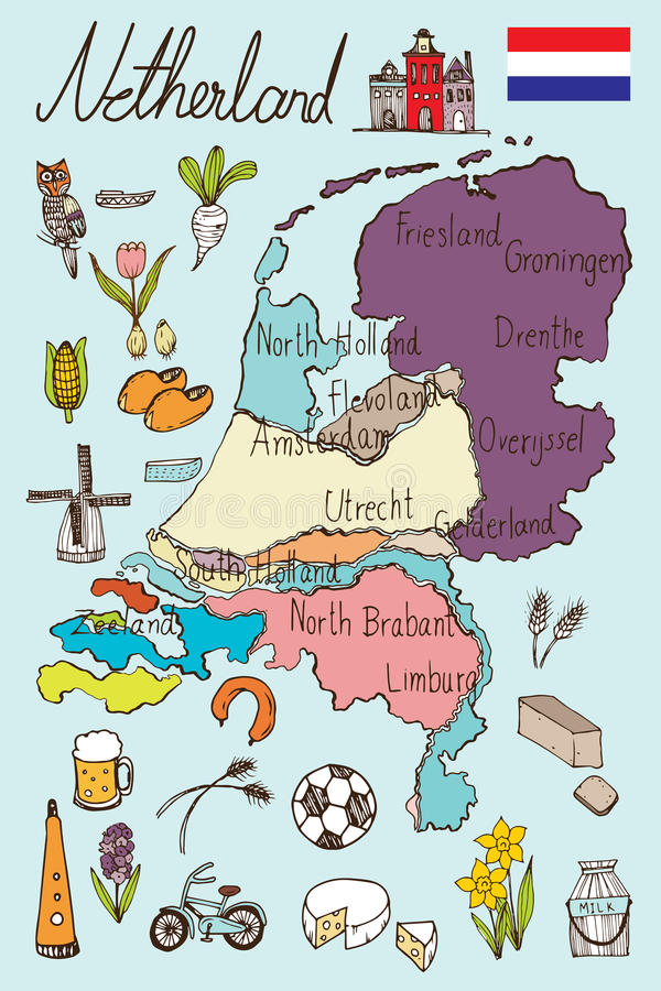 Netherlands Map And Icon Doodle Vector Stock Vector Image 71793869