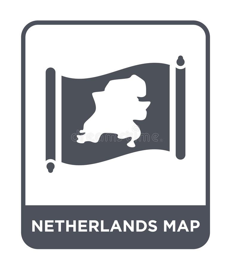 Netherlands map icon in trendy design style. netherlands map icon isolated on white background. netherlands map vector icon simple. And modern flat symbol for stock illustration