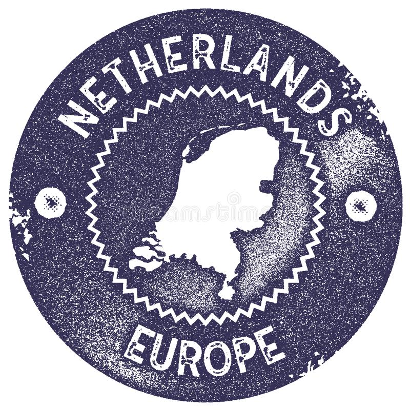 Netherlands map vintage stamp. Retro style handmade label, badge or element for travel souvenirs. Deep purple rubber stamp with country map silhouette. Vector stock illustration
