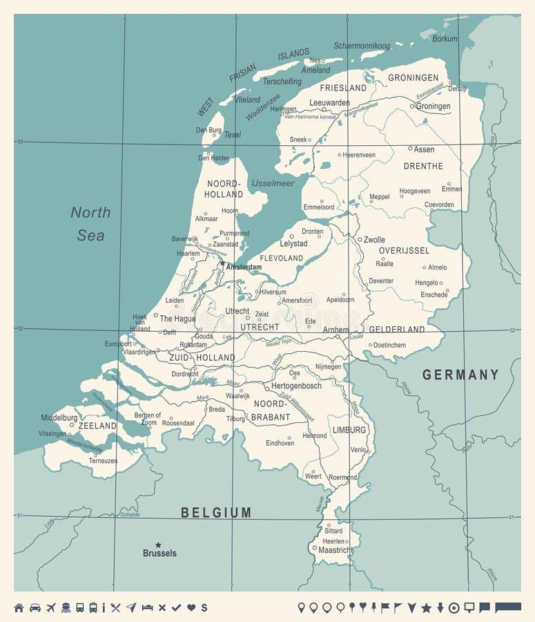 Netherlands Map - Vintage Vector Illustration. Netherlands Map - Vintage Detailed Vector Illustration stock illustration