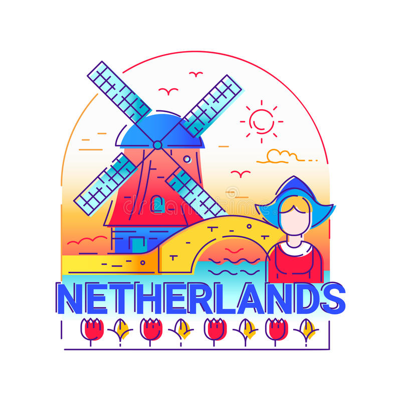 Free Netherlands - Modern Vector Line Travel Illustration Royalty Free Stock Image - 88559706