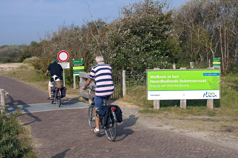 Recreation in the nature reserve in Dutch dunes stock photography