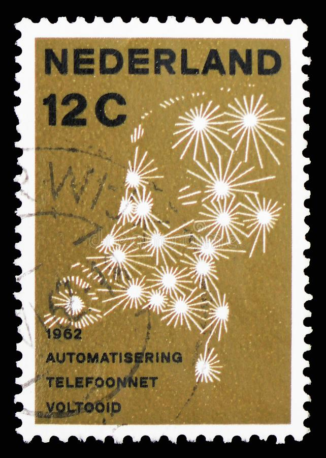 Netherlands public switched telephone network, Automatic telephone connections serie, circa 1962. MOSCOW, RUSSIA - FEBRUARY 10, 2019: A stamp printed in stock image