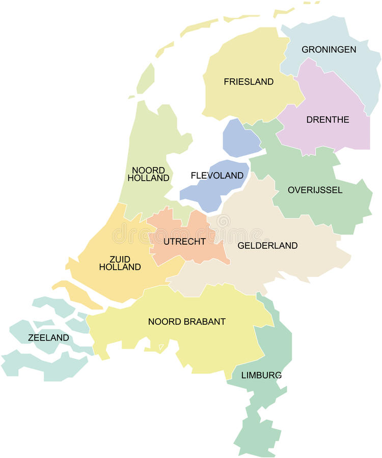 Netherlands regions stock vector Illustration of boundary 9525165