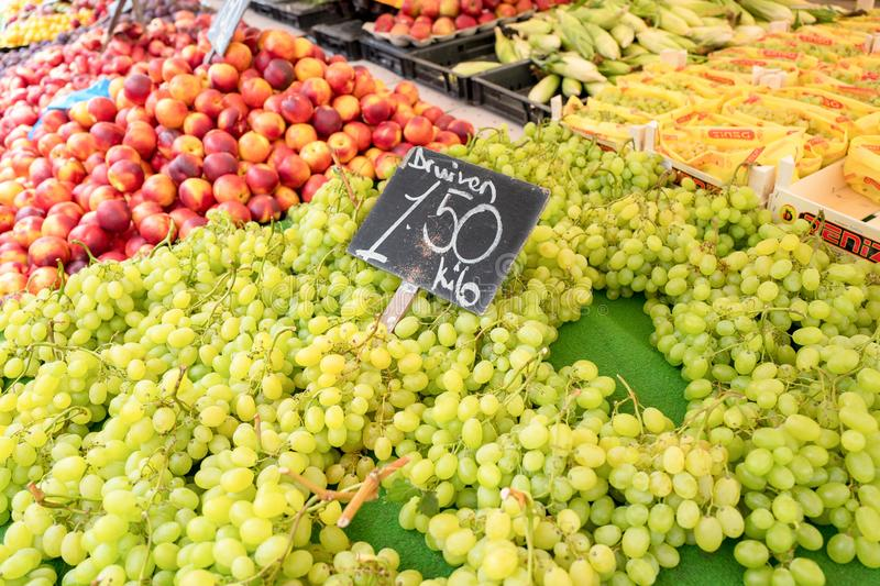 Grapes at a market stall in Rotterdam, Netherlands stock photos